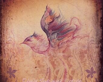 Victorian Bird Art Print, Victorian Steampunk Fantasy Art