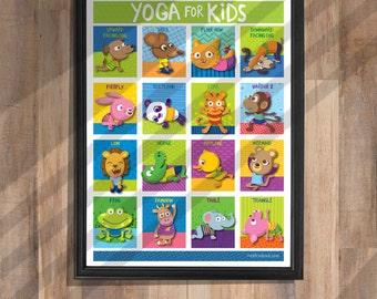 16 Yoga Poses Poster: 18 x 24 Print