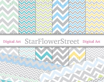 Gray, Chevron, Digital Paper, Blue, Yellow, Green, Aqua, Pattern, Scrapbook, Background, soft, baby, grey, scrapbooking, boy,,Printable