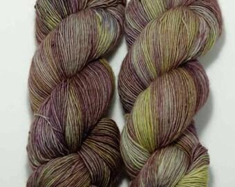 Hand Dyed Yarn - 'Avocado Dreams' - Single Ply - Fingering Weight - Green - Purple - Superwash Merino - 434 yards 115 grams