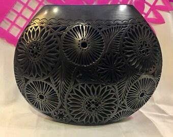 Oaxaca Black Pottery Vase