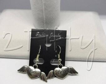 Friends On Hearts And Wings Nickel Free Hook Earrings Love Family Spouse Children