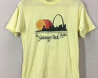 Vintage 80's Gateway Arch St Louis Super Soft 50/50 Souvenir T-Shirt Fits like a Small