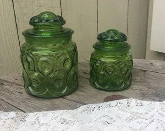 Vintage Green Moon and Stars Jars