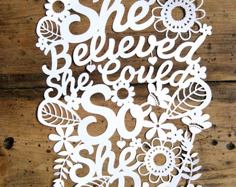 Papercut Template 'She Believed She Could So She Did'  PDF JPEG for handcutting & SVG file for Silhouette Cameo or Cricut