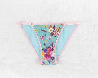 PIPPA Pink and Blue Cotton and Mesh Strappy Bikini Undie, Handmade to Order