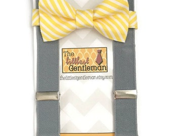 boys bow tie suspenders set, Yellow striped bow tie suspenders set, ring bearer outfit, toddler suspenders, boys grey braces, yellow bow tie