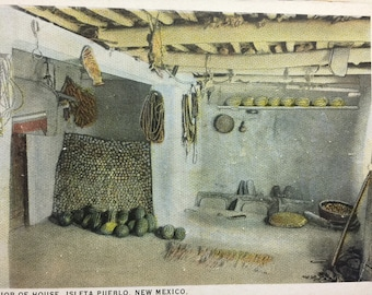Vintage NM Postcard Isleta Pueblo New Mexico Interior of house 1925