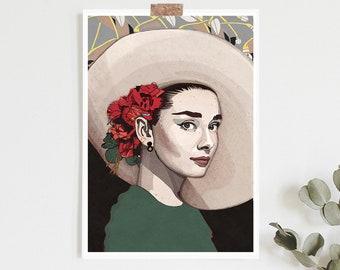 Audrey Hepburn Inspired print   llustration art giclée   Audrey Hepburn art, Audrey Hepburn posters, Audrey Hepburn art,Breakfast Tiffanys