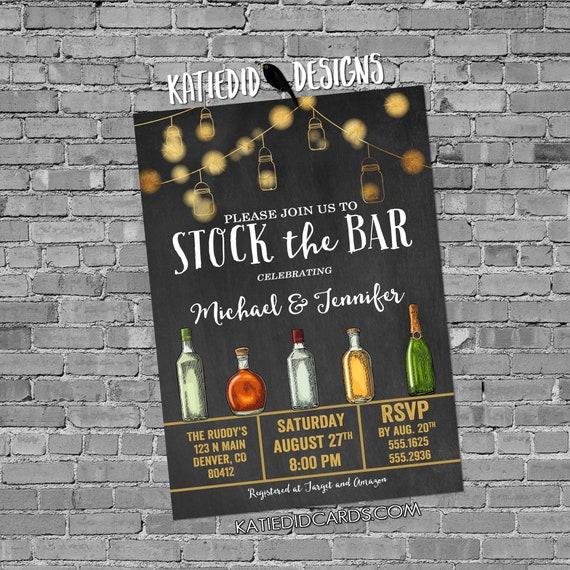 stock the bar rehearsal dinner invitation Couples Shower bridal bottle string light I do BBQ engagement party housewarming | 334 Katiedid