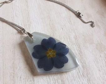 Big Blue Primrose Flower Resin Necklace / Necklace / Handmade Jewelry / Flower Jewelry / Real Dried Flowers / Women Gift Idea / Blue Flower