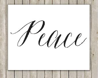 8x10 Christmas Printable Art, Peace Art Print, Typography Print, Digital Art, Holiday Decor, Peace Love Joy Wall Art, Instant Download