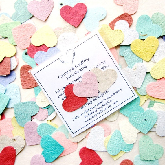 100 seed hearts wedding favors plantable flower seed paper mightylinksfo Choice Image