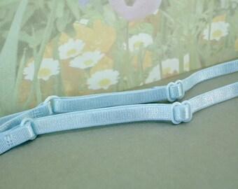 "Bra Straps Elastic Light Blue 1/4"" inch wide Adjustable Thin Skinny Satin Elastic diy Bra Making Supplies Lingerie Headband Camisole Sewing"