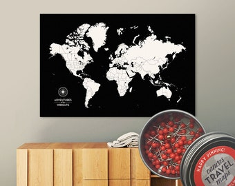 Push Pin Map (Black) Push Pin World Map Pin Board World Travel Map on Canvas Push Pin Travel Map Personalized Wedding/Anniversary Gift