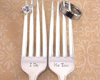 I do/ Me too Fork Set - Hand Stamped Vintage Silverware, wedding silverware, gift under 30, stamped forks, bridal shower, wedding gift
