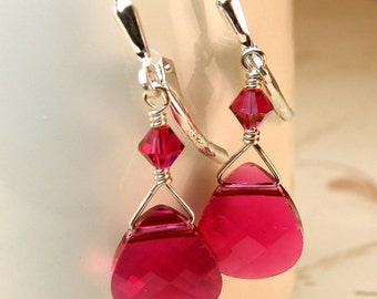 Ruby Red Earrings, Crystal Swarovski Teardrop, Sterling Silver Dangle, Red Ruby Bridesmaids Magenta Wedding Handmade Jewelry July Birthstone