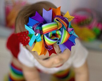 Rainbow Hair Bow Headband - Rainbow -  Over The Top Headband - OTT - Rainbow Hair Clip