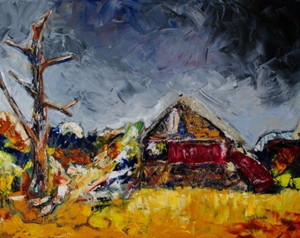 SALE Derelict-24x36 Original Abstract Impressionism Abandoned Building Barn Oil Painting