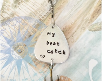 Personalized Gift for Fisherman - Your Message 9 Fonts - My Best Catch Fishing Lure - Personalized Metal Fishing Lure - Unique Present