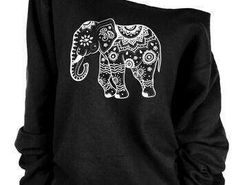 Elephant print oversized off shoulder raw edge  sweatshirt