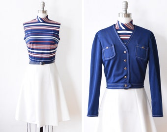 70s mod dress, vintage 1970s mod scooter dress jacket set, red white and blue nautical mod dress, 4th of July dress, xs/small