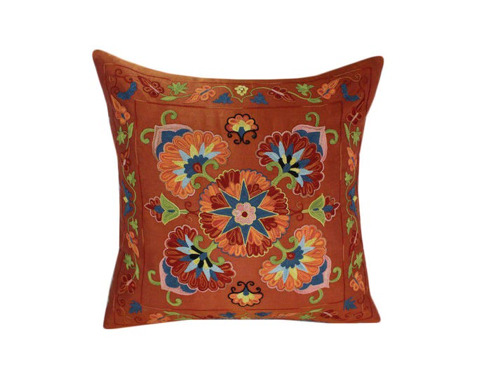 Hand Embroidered Suzani Pillow Cover SP45 (msp795), Suzani Pillow, Suzani Throw, Boho Pillow, Suzani, Decorative pillows, Accent pillows