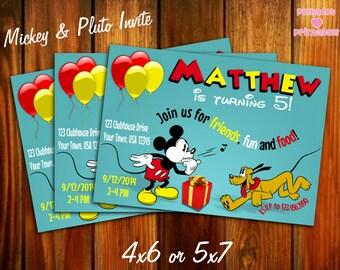 Mickey and Pluto Invitation 4x6 or 5x7 Printable Digital File