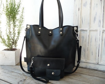 Leather bag, Leather bag woman, black leather bag, large leather bag, leather shopping bag, leather bag black, shoulder bag, Emma - black!