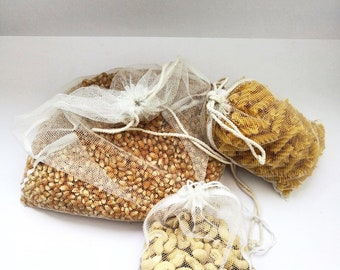 3 Drawstring net produce bags perfect for bulk shopping / plastic bag replacement / zero waste / recycled, sustainable eco friendly