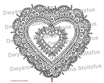 Henna Style Heart 2 Coloring Page JPG