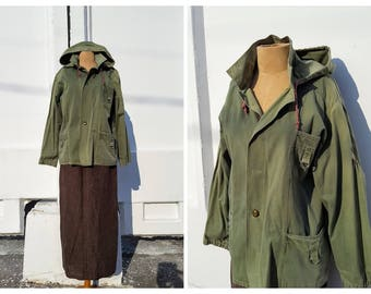 Vintage Jacket military jacket  Khaki Green  canvas Military Parka Coat 1970s