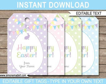 Easter tags printable easter favor tags easter gift tags happy printable easter tags easter gift tags easter favor tags instant download with editable negle Choice Image