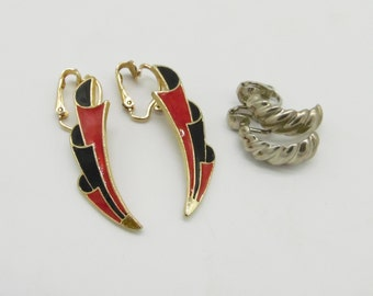 Vintage Non Pierced Earrings 1980's - Two Pairs