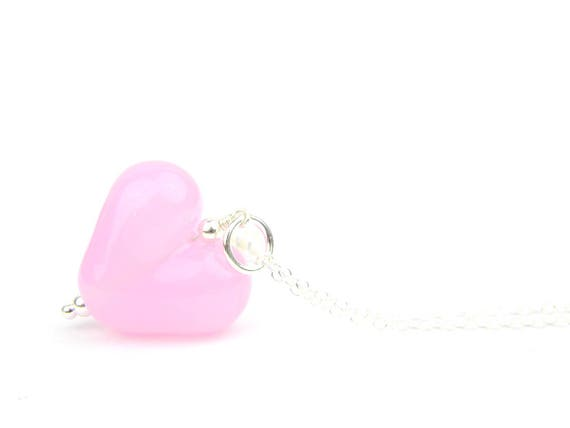 Art Glass Pendant - Rose Quartz Puffy Heart Glass Bead Sterling Silver Pendant - Classic Collection
