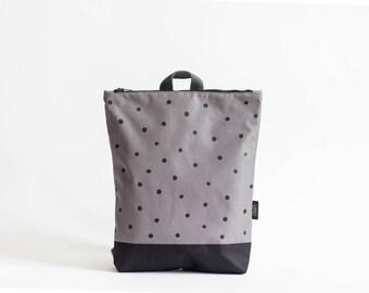Grey waterproof backpack, Black handmade backpack, Polka dot backpack, Laptop backpack