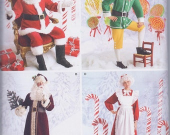 Simplicity 2542 Unisex Christmas Costumes Santa Father Xmas Mrs Claus Elf UNCUT Sewing Pattern
