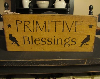Primitive Blessings Crow Sign, Primitive Crow Sign, Crow Sign, Crow Decor, Rustice Wood, Handmade Wood Sign