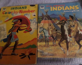 Vintage Indians Coloring book lot of two Whitman 70's Native American Indian Tee pee horses Squaw