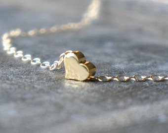 Delicate Gold Heart Necklace / Little Heart Pendant on a 14k Gold Filled Chain / Tiny Sweet Heart