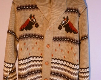 Vintage Cowichan Cardigan Horseshoe Horse Sweater Shawl Collar Thick Heavy Cold Weather Wear Size Large-X Large Unisex