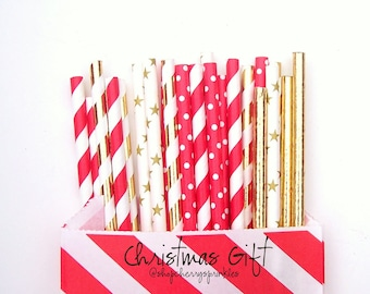 Christmas Gift *Gold Wedding *Christmas Straws *Paper Straws *Red and Gold *Red Straws *Gold Foil Straws *Christmas Wedding *Gold Straws