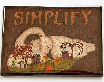 Magnet, Simplify, Folk Art Magnet, ACEO, Kitchen magnet, Fridge magnet, Swan, Primitive Art, Swan Magnet, Simplify Magnet (5208)