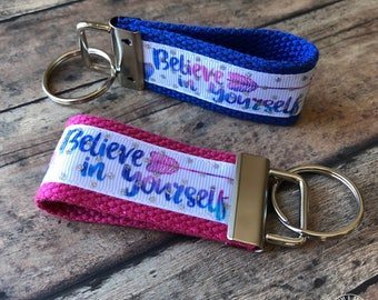 Believe in yourself, Key fob, new driver, keychain, wristlet, inspirational key ring, Christian
