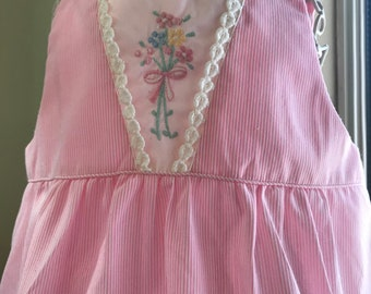 Vintage 1960 Tiny Tots Embroidered Bubble Suit. Romper