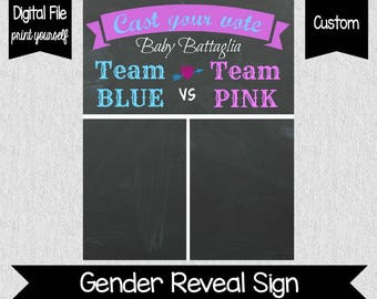 Gender Reveal Voting Chart - Personalized Gender Reveal Voting Chart - Print Yourself - Team Blue   Team Pink - Party Decor - Baby