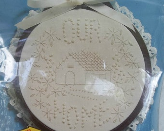Hot springs old etsy hoop to stitch kit our home house and flowers candlewicking wall plaque mightylinksfo Images