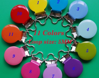 22 Enamel Round Metal Suspender Clips Paci Pacifier Holder,Bib Clips,Clips for Baby Toys Mix and Match. Choose Your Colours Lead&Nickle Free