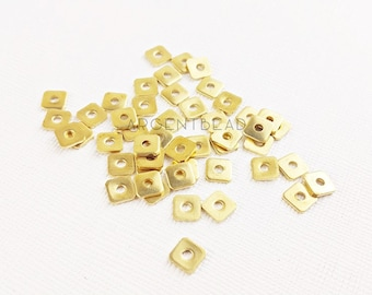 50pcs 6x6mm Ribbed Cube Beads, Brass Tiny Cubes, Cube Seed Beads, Small Brass Spacers, Solid Brass Beads  1AG128