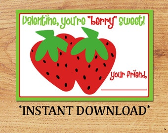 INSTANT DOWNLOAD - Blank Valentine - Berry Sweet - Mini Valentine